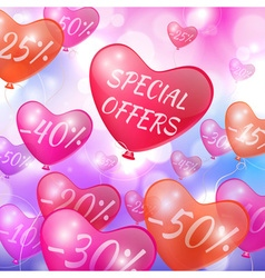 Discounts on flying in the form of hearts balls vector image