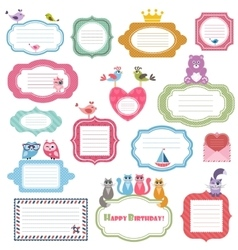 Frames and stickers with animals vector image