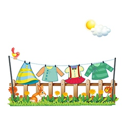 A bunny below the hanging clothes vector image