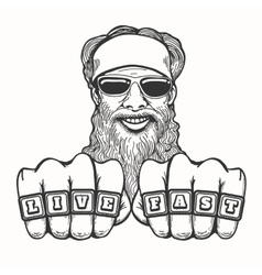 Bearded Biker vector image
