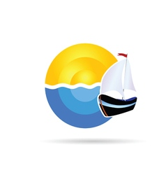 boat icon on the sea and sun vector image vector image