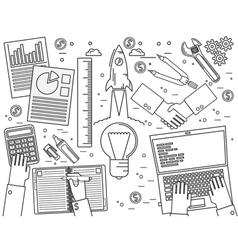 Business finance management team work analysis str vector