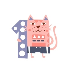 Cat standing next to number one stylized funky vector