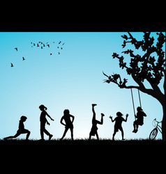 children playing in a park vector image