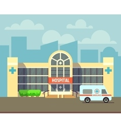 City hospital building in flat design style vector