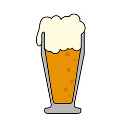 Colorful cartoon foamy beer glass vector