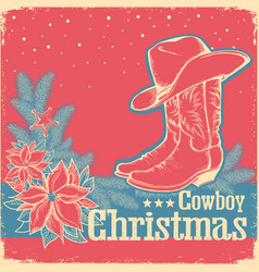 Cowboy christmas retro card with american western vector