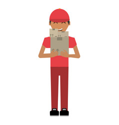 delivery man package service vector image