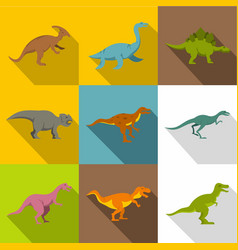 different dinosaurs icon set flat style vector image vector image