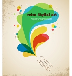 Digital art poster with splash color vector