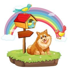 Dog and birdhouse vector