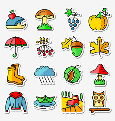 fall season icons stickers set web pictograms vector image