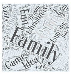Family christmas gift exchange games word cloud vector