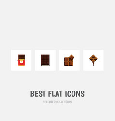 flat icon chocolate set of chocolate bar cocoa vector image vector image