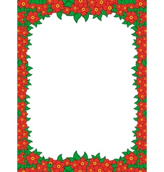 Frame with red flowers vector