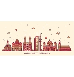 German cities linear style vector