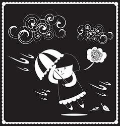 Girl in windy vector