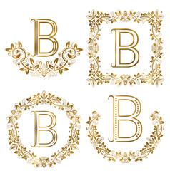 golden b letter ornamental monograms set heraldic vector image