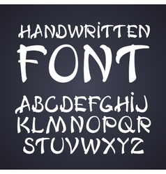 handwritten brush font White letters on vector image