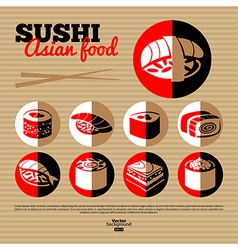 Japan sushi flat icon set vector