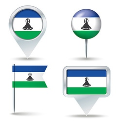 Map pins with flag of lesotho vector