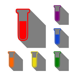 medical tube icon laboratory glass sign set of vector image