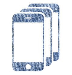 mobile phones fabric textured icon vector image