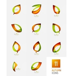 Modern geometric autumn leaf icons vector image