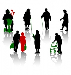 old and disabled people vector image