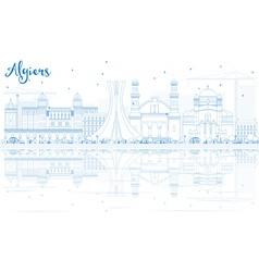 Outline algiers skyline with blue buildings vector