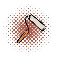Paint roller comics icon vector