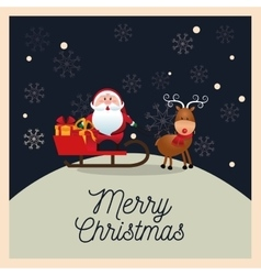 Santa and deer cartoon of christmas season design vector