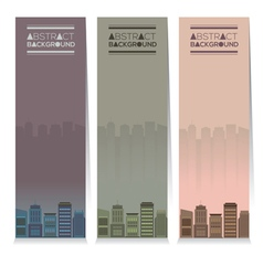 Set Of Three Buildings Vertical Banners vector image
