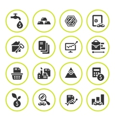 Set round icons of investment and finance vector
