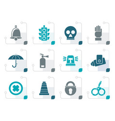 stylized surveillance and security icons vector image vector image