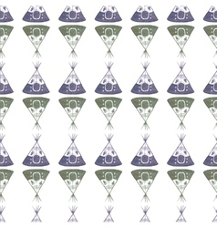 Watercolor seamless pattern with teepee on the vector