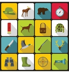 Hunting icons set in flat style vector
