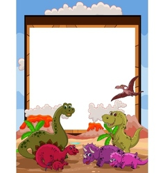 Dinosaur with blank sign vector
