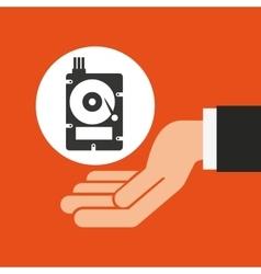 Hands businessman data hard drive disk vector