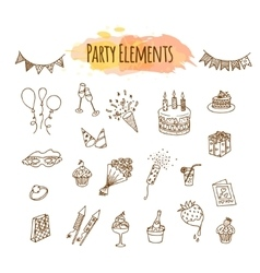 Hand drawn party decorations and elements vector