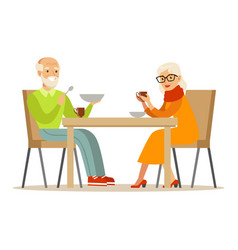 grandfather and grandmother having dinner part of vector image