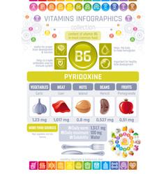 pyridoxine vitamin b6 rich food icons healthy vector image