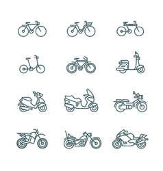 Motorbike motorcycle scooter bike bicycle thin vector