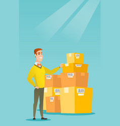 Business man checking boxes in warehouse vector