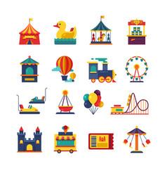 fairground games and amusement park flat vector image