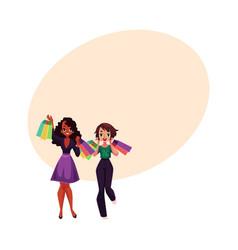 Happy black and caucasian women girls friends vector