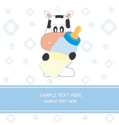 Cow with baby bottle vector