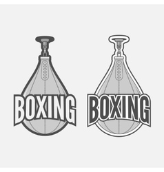 Punching boxing bag labels set vector