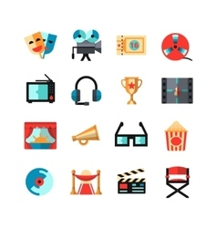 Cinema isolated icon set vector