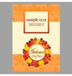 Card with autumn leaves and space for text vector